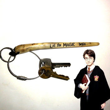 Harry Potter Magic Wand Keychain Gift, Printed Natural Old Tree Branch. Let The Magic Begin Keyring. Print On Tree Branch. Very Strong Wood