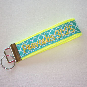 Key Fob Key FOB / KeyChain / Wristlet  -  Monogrammed - embroidered bible verse Design Your Own - trellis Quatrefoil