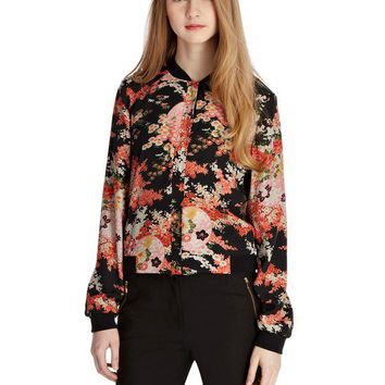 Orange Floral Cuff Sleeve Zipper Chiffon Jacket