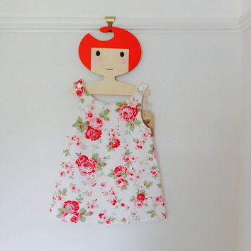 Baby / girls floral pinafore dress shabby chic retro style