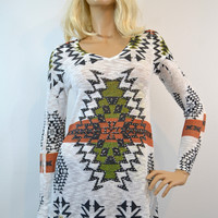 Vocal Aztec Snowflake Rhinestone Tunic Knit Top
