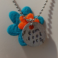 "Tomfoolery metal stamped necklace-aluminum-silver-blue-orange-flower-daisy-Ella Enchanted-18"" Beaded Ball Chain"