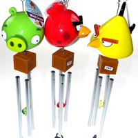Angry Birds Wind Chimes Lot of 3 Red Yellow Green Crystal TNT Lock Garden Decor