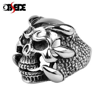 OBSEDE Punk Skull skeleton Ring for Men Jewelry Silver Color Dragon Claw Signet Men Vintage Cool Gifts Drop Shipping