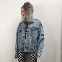 80s 90s Jordache Acid Wash Denim Jacket - Acidwash Jean Jacket - Oversized Slouchy - Patches Patched Jacket - 90s Soft Grunge - 80s Clothing