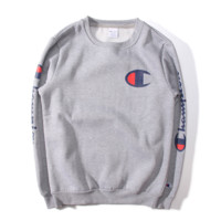 Tide brand new champion Champion embroidery lovers installed plus velvet sweater thick cotton head Gray