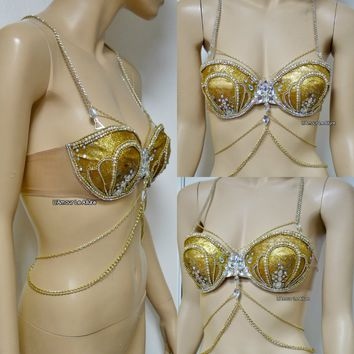 AB Iridescent Gold Glitter Mermaid  Rave Bra Siren Costume