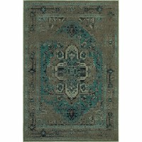 Oriental Weavers Traditional Grey Blue Polypropylene Oriental Machine-Woven Area Rug