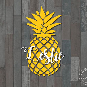 Custom Name Pineapple Crown Decal, Car, Monogram, Personalized Name, Yeti, RTIC, Tumbler Decal Decals
