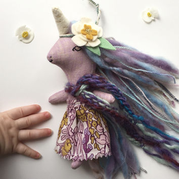 Outfit for Purple Unicorn Doll - Liberty Skirt, Scarf and Flower Headband -  for Liberty Lavender Dolls Unicorn or Pegasus Mini Doll (Doll sold separately)