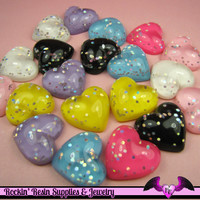 5 Pcs Sparkly HEARTS Resin Decoden Flatback Cabochons 22x20mm