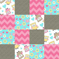"Walmart: Owl Love You Patches, Multi-Color Substrate Patch, Pink, 44"" Wide, Fabric by the Yard"