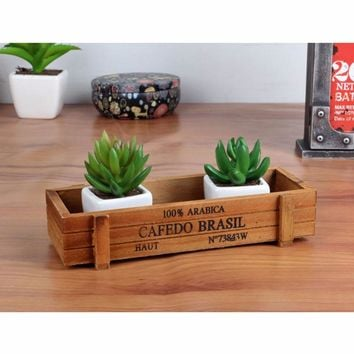 Retro Wooden Flower Pot Succulent Planter For Succulents Bonsai Garden Pots Balcony Decorations Pot De Fleur Flowerpots