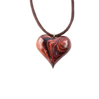 Wooden Heart Necklace, Heart Necklace, Heart Pendant, Wooden Heart Pendant, 5th Anniversary Gift, Wood Jewelry, Carved Wooden Pendant