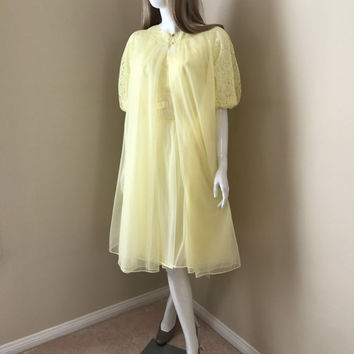 VANITY FAIR Vintage 60's Peignoir Set, Butter Yellow Chiffon Peignoir Set, Sheer Nightgown with Robe, Lacey Sleeves- Size XS