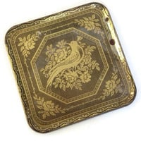 Vintage Tin Tray, Lacey Crochet Peacocok Design, Gold on Black, Square, Shabby Chic, Serving Tray, Vintage Metal Tray