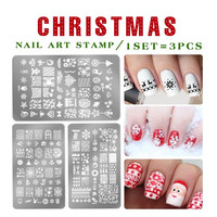 Christmas Celebrate designs Nail Art Stamping Plates Flowers Templates Polish  Rectangle Stamp stencil Naill art decorations