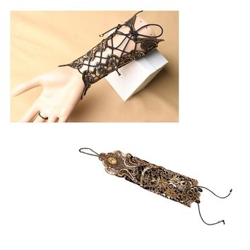 Comfortable 1 Pc Women Ladies Steampunk Style Lace Fingerless Long Gloves Lace Hollow-Out Chain Bracelet Gloves Party Costume