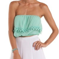 Mint Crochet-Trim Flounce Tube Top by Charlotte Russe