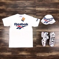 """Reebok"" Unisex Sport Casual Classic Retro Letter Print Couple Short Sleeve T-shirt Top Tee"