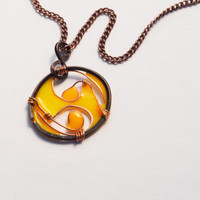 Cancer Zodiac. Resin pendant necklace. Zodiac Jewelry. bright yellow. Summer. Gifts for her. unique. handmade. dark copper.