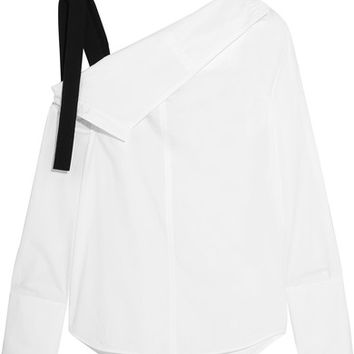 Proenza Schouler - Grosgrain-trimmed asymmetric cotton-poplin top