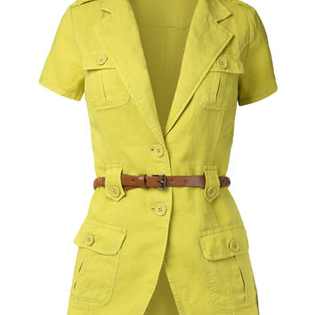 Womens Lightweight Short Sleeve Safari Jacket with Belt
