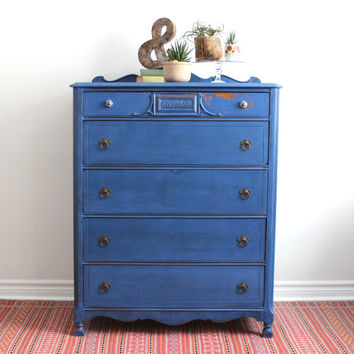 Blue Tall Boy Dresser Painted With Milk Paint
