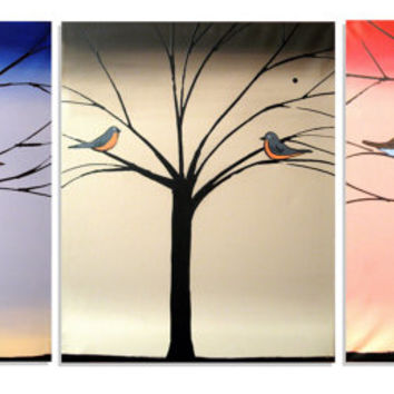 """TRIPTYCH 3 Wall canvas birdhouse art painting 3 panel """"Bird Seasons""""  three panel art Abstract large huge wall 27 x 12 inches"""