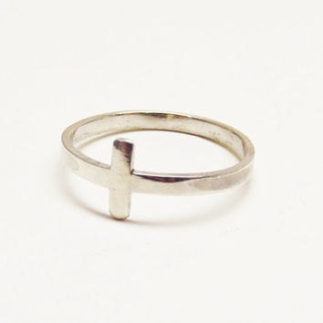 Sterling Silver, 2x1mm, Oh My Metals, One Ring, Cross Ring, Handcrafted, Thin Ring, Minimalist, Faith, Jewelry, Gift