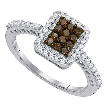 10kt White Gold Women's Round Cognac-brown Color Enhanced Diamond Rectangle Frame Cluster Ring 3/8 Cttw - FREE Shipping (US/CAN)