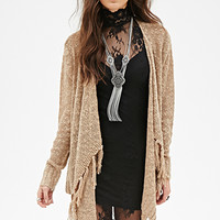 Fringed Open-Front Cardigan