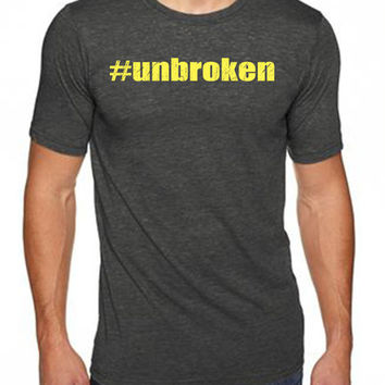 Unbroken Men's workout t-shirts from Spin Off Apparel