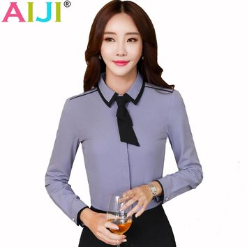 Spring Summer women formal clothing long sleeve shirts OL elegant bow tie chiffon blouse office ladies plus size work wear