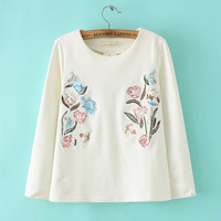 White Floral Embroidered Sweater
