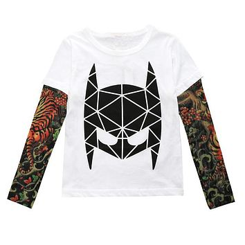 Children T Shirt Tattoo Sleeve Spring & Autumn Hip-hop Fashion Letter Kids Cotton Tops Clothing