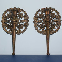 Medieval round gold Homco candlestick sconces - Ornate sconces, candle holders, wall decor, gold decor