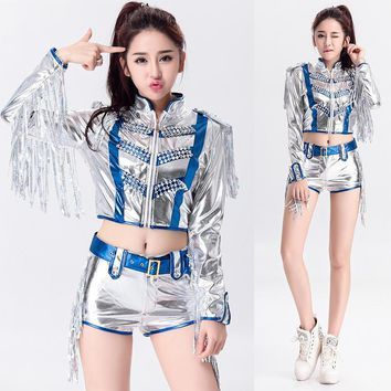 Sexy Korea Girls Silver Stage Clothing DS Dancer Cheerleader Costume Female Fancy Dress Outfit Two Piece Sets With Sequin Tassel