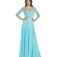 Aqua Sheer Illusion Long Sleeve Gown 2015 Prom Dresses