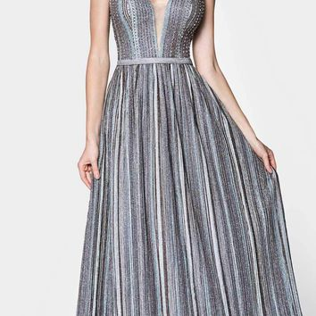 Striped Metallic A-Line Stretch Knit Gown V-Neckline Open Back