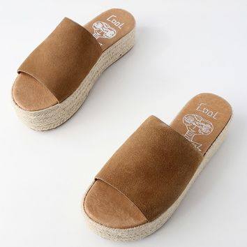 Bory Tan Suede Leather Flatform Espadrille Slides