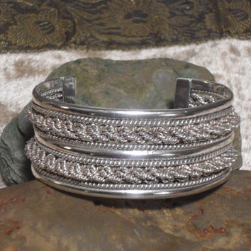 Vintage 925 Sterling Silver Signed JKE Wide  Cuff Bracelet Unisex Double Braided Mexican Silver Jewelry southwest boho style jewelry