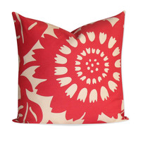 "Duralee Thomas Paul Red ""Stockholm"" Pillow Cover - 22x22 - SAME Fabric BOTH SIDES - Invisible Zipper"