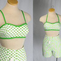 Vintage 1960's Polka-dot Playsuit PIN-UP Tap Pants and Halter Top Set High Waist VLV Old Store Stock