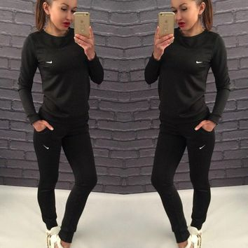 NIKE Top Sweater Pullover Pants Trousers Set Two-Piece Sportswear