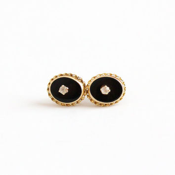 Vintage 14k Rolled Gold Plated Black Onyx Rhinestone Earrings - Mid Century Circa 1940s Pierced Post Oval Studs Twisted Rope Border Jewelry