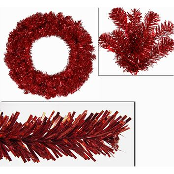"24"" Pre-Lit Sparkling Red Hot Artificial Tinsel Christmas Wreath - Red Lights"