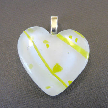 Heart Pendant of White and Yellow Fused Glass - One of a Kind - Gift of Love  by mysassyglass