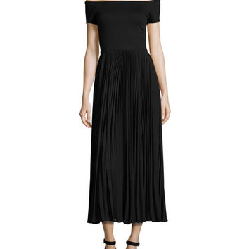 Alice + Olivia Ilana Off-The-Shoulder Plissé Tea-Length Dress, Black