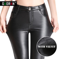 Causal women leather pants high waist skinny warm thicken patchwork office pencil pants female trousers leggings Plus size 4XL